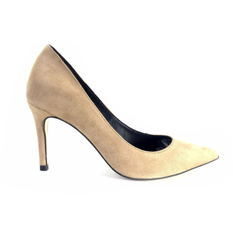 Faux-Suede 85mm High Heels (Sand) by FAIR Shoes - Vegan Style