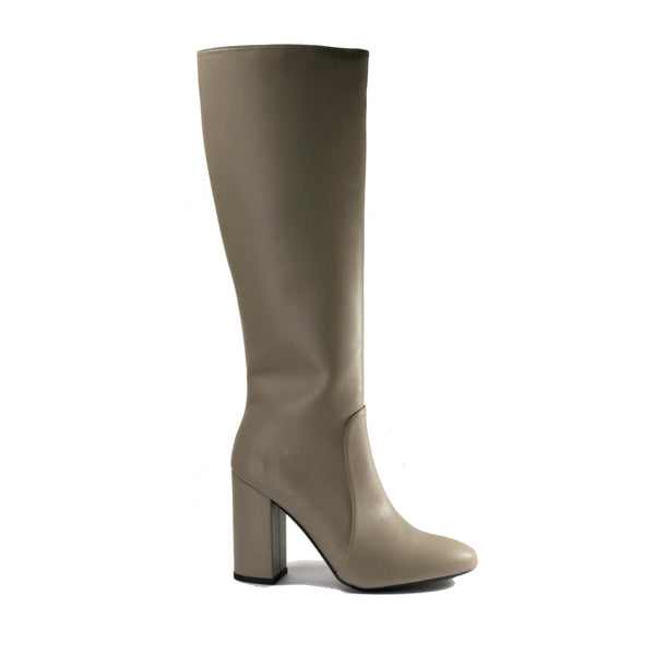 Claudia taupe vegan leather knee high boots