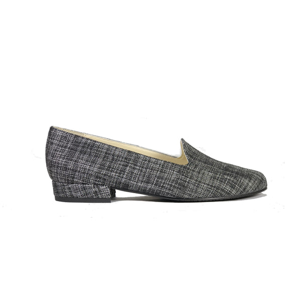 Tracey' vegan-textile loafers by Zette Shoes - charcoal - Vegan Style