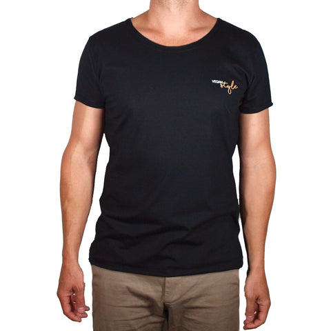 Vegan Style - men's black t-shirt. Sustainably made from recycled bottles and cotton. Shop now!