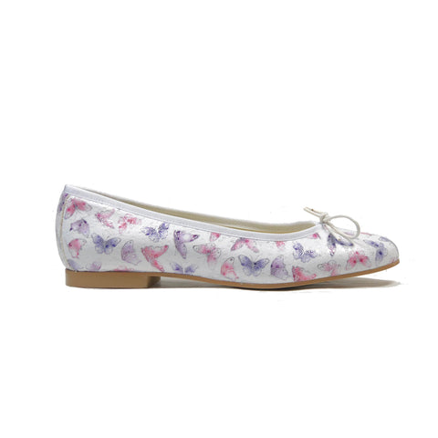 'Madi' vegan textile ballet flat by Zette Shoes - white