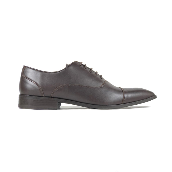 'Laurent' - cap-toe classic vegan oxford in brown by Zette Shoes - side view
