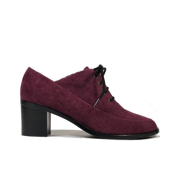 'Winifred' Oxford vegan mid heels by Zette Shoes - purple corduroy