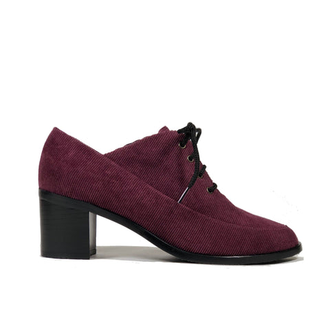 'Winifred' Oxford vegan mid heels by Zette Shoes - purple corduroy - Vegan Style