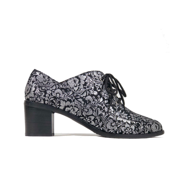 'Winifred' Oxford vegan mid heels by Zette Shoes - black and silver - Vegan Style