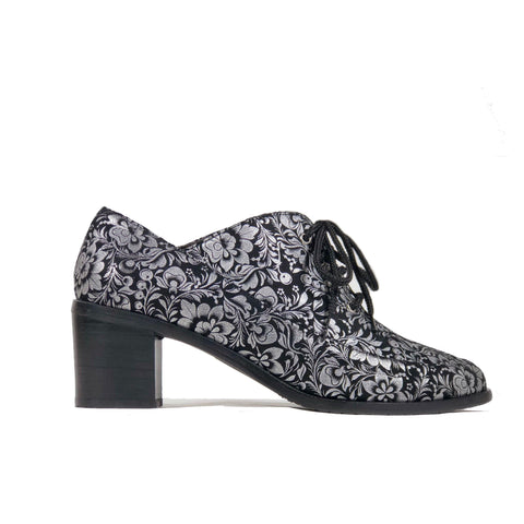 'Winifred' Oxford vegan mid heels by Zette Shoes - black and silver