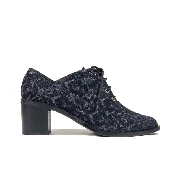 'Winifred' Oxford vegan mid heels by Zette Shoes - black floral - Vegan Style