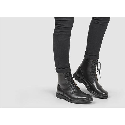 Women's Lace Up Boots (Black) by Ahimsa