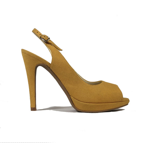 'Maddison' vegan suede slingback heel by Zette Shoes - mustard - Vegan Style
