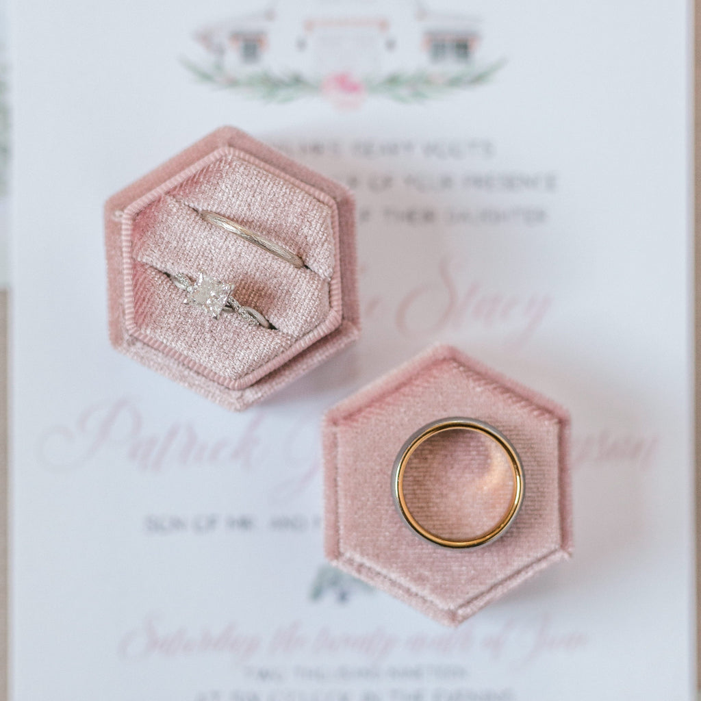 Dusty Rose Two Slot Hexagon Velvet Ring Box