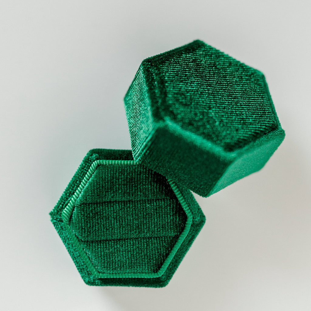 Emerald Green Two Slot Hexagon Velvet Ring Box