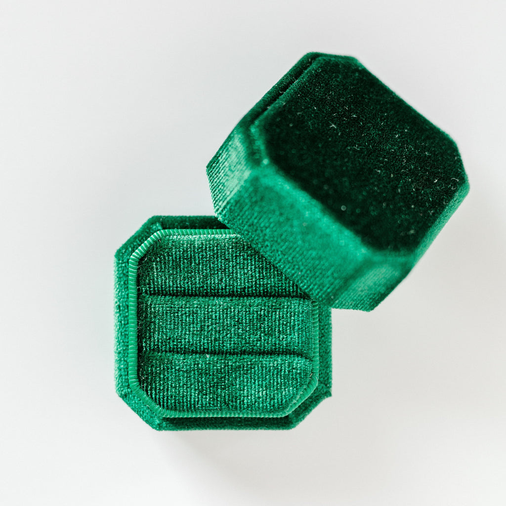Emerald Green Two Slot Square Octagon Velvet Ring Box