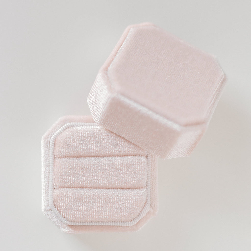 Peachy Cream Two Slot Square Octagon Velvet Ring Box