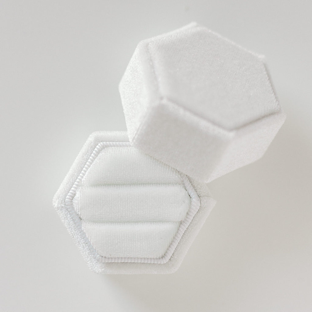White Two Slot Hexagon Velvet Ring Box