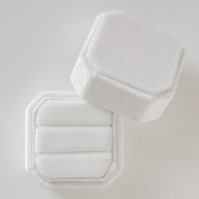 White Two Slot Square Octagon Velvet Ring Box