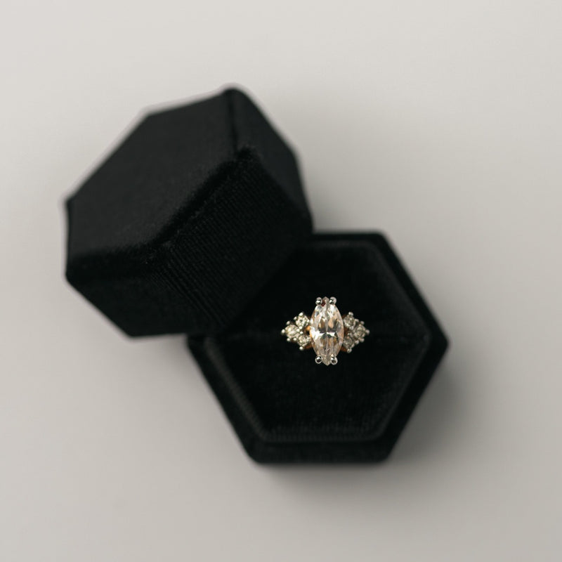 Black Hexagon Velvet Ring Box