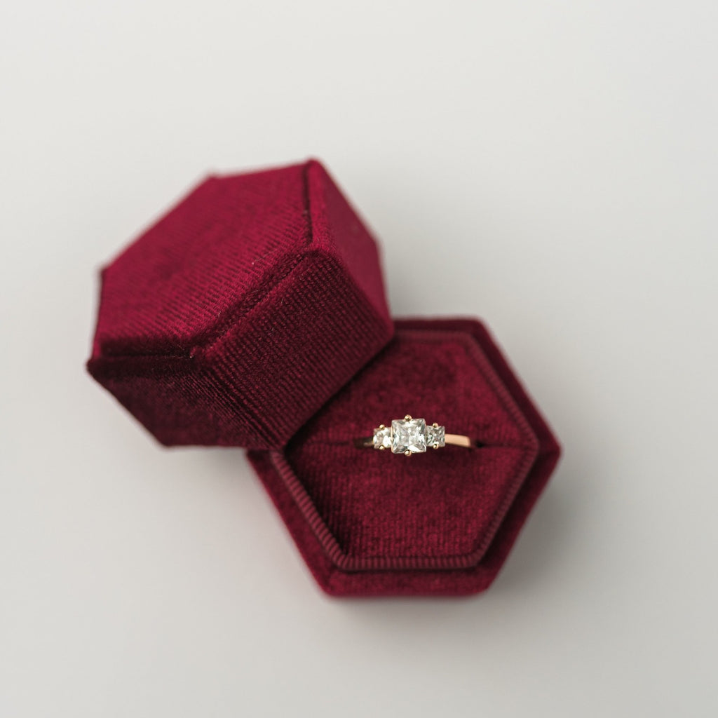 Burgundy Hexagon Velvet Ring Box