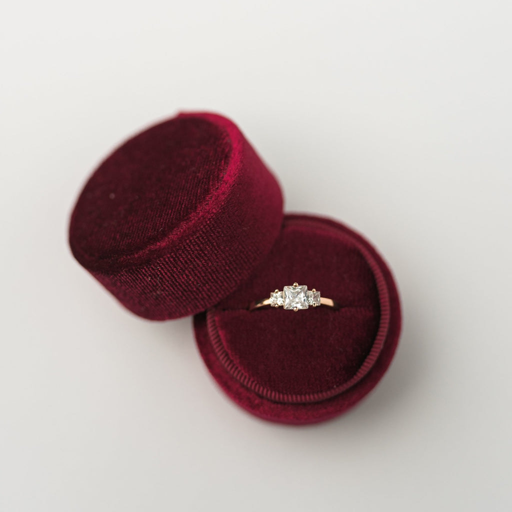 Burgundy Round Velvet Ring Box