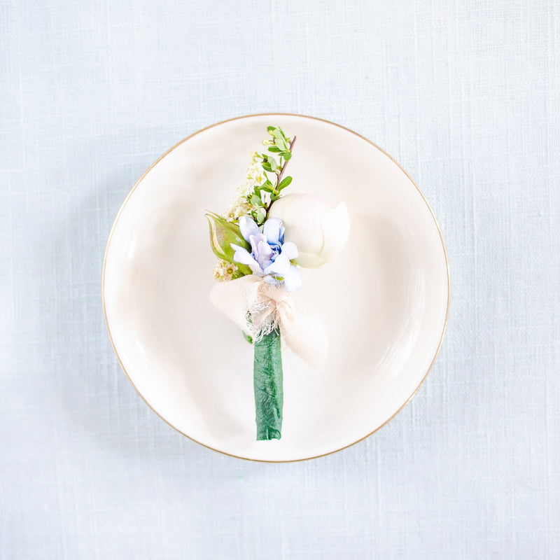 Ceramic Ring Dish with Boutonniere