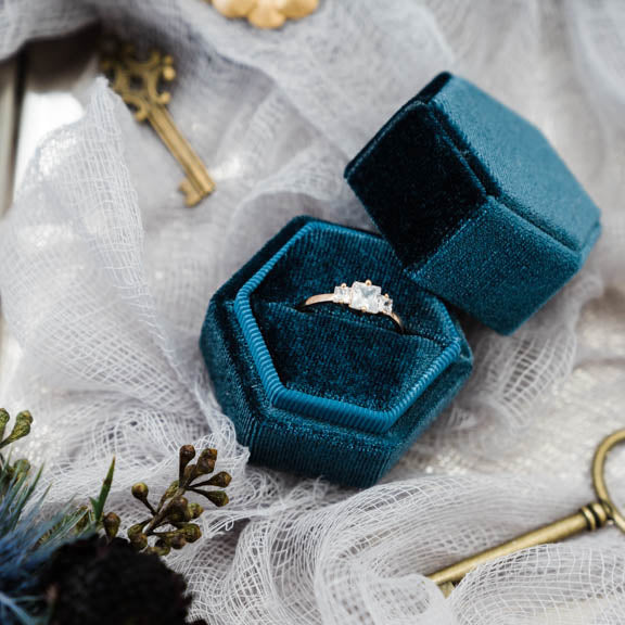Dark Blue Hexagon Velvet Ring Box