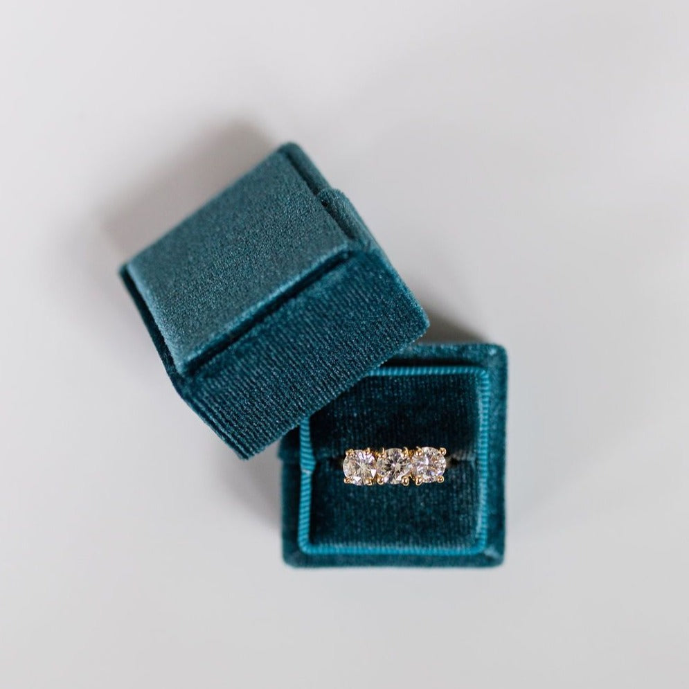 Dark Blue Square Velvet Ring Box