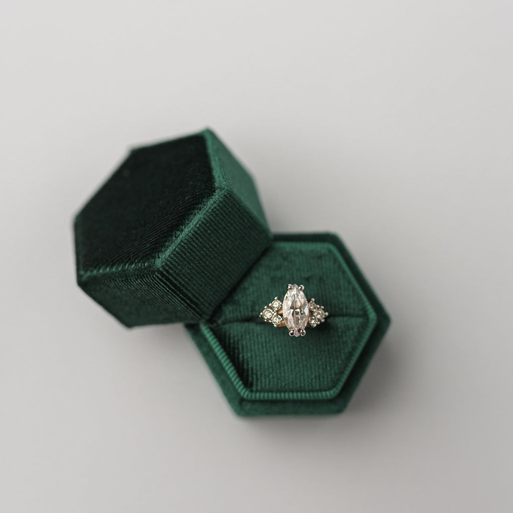 Emerald Green Hexagon Velvet Ring Box