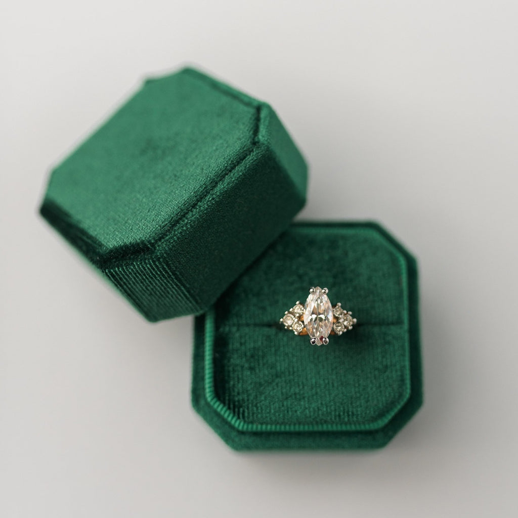 Emerald Green Square Octagon Velvet Ring Box