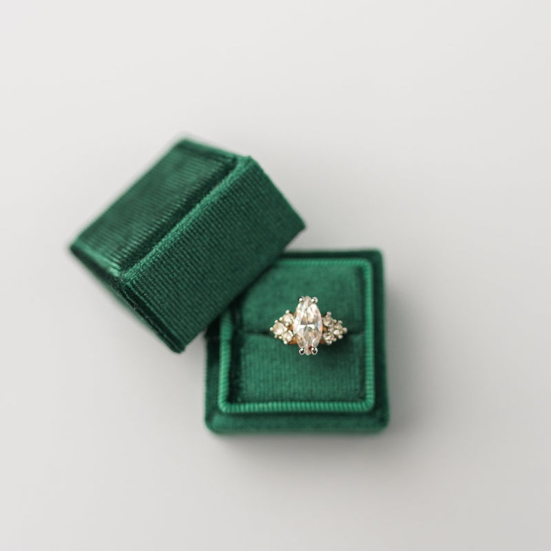 Emerald Green Square Velvet Ring Box