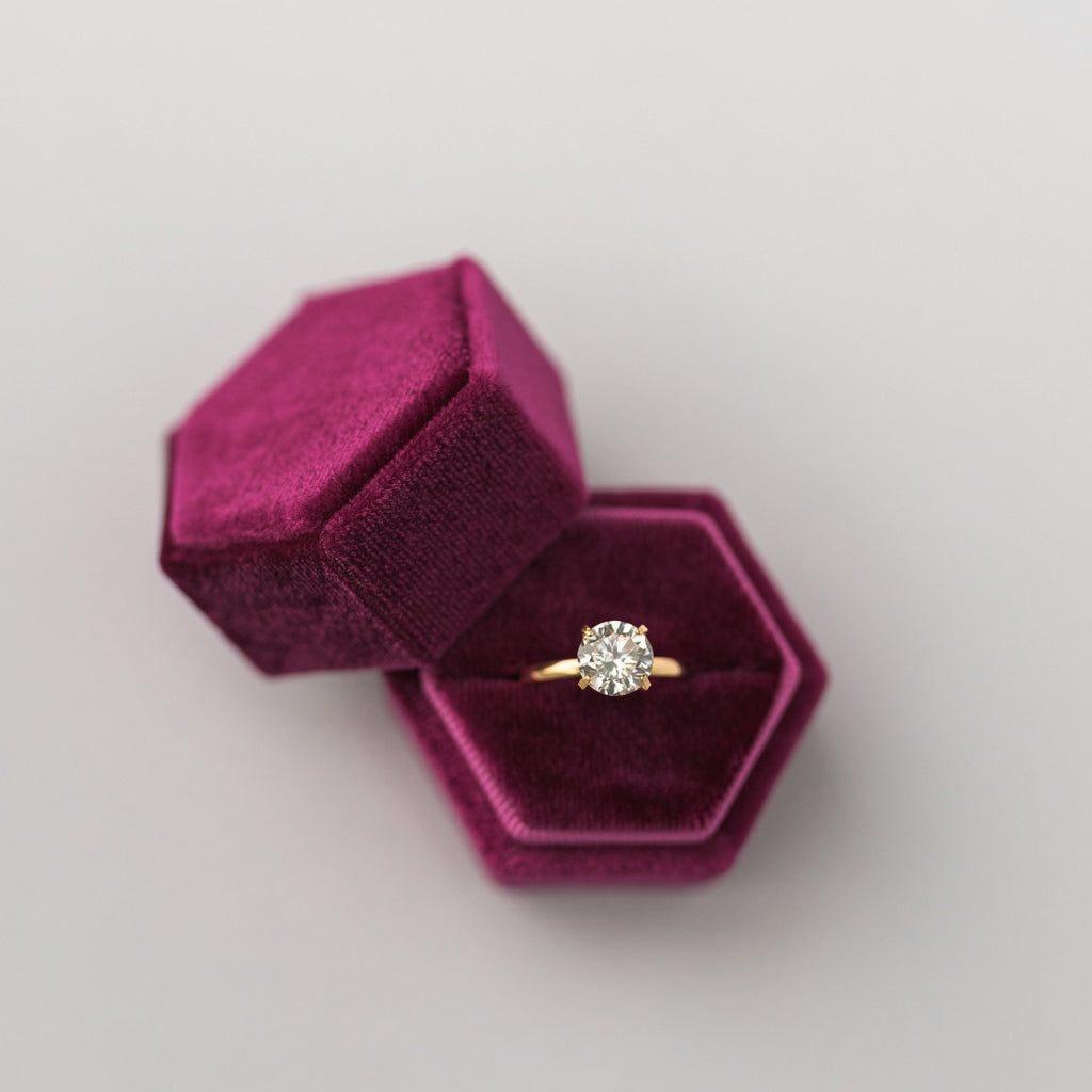 Fuchsia Hexagon Velvet Ring Box