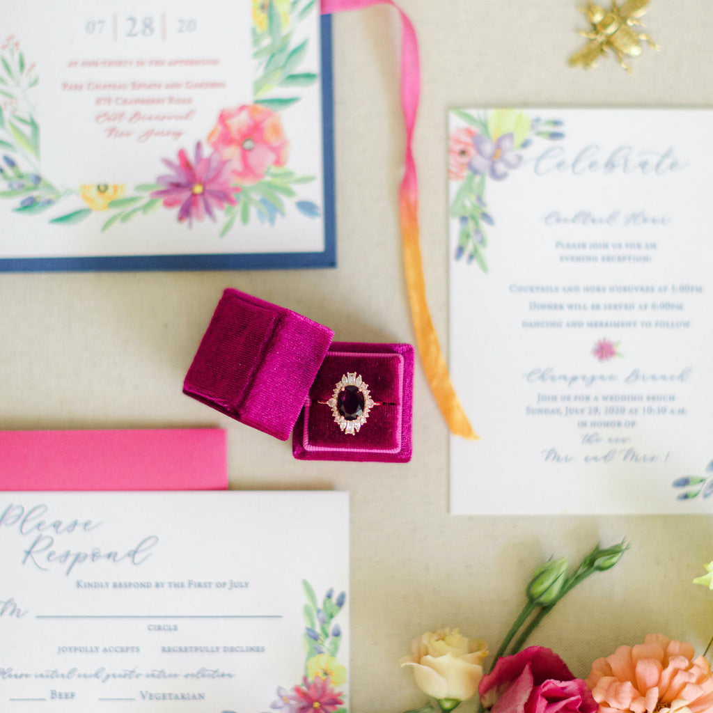 Fuchsia Square Velvet Ring Box
