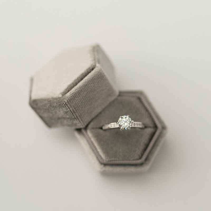 Grey Hexagon Velvet Ring Box