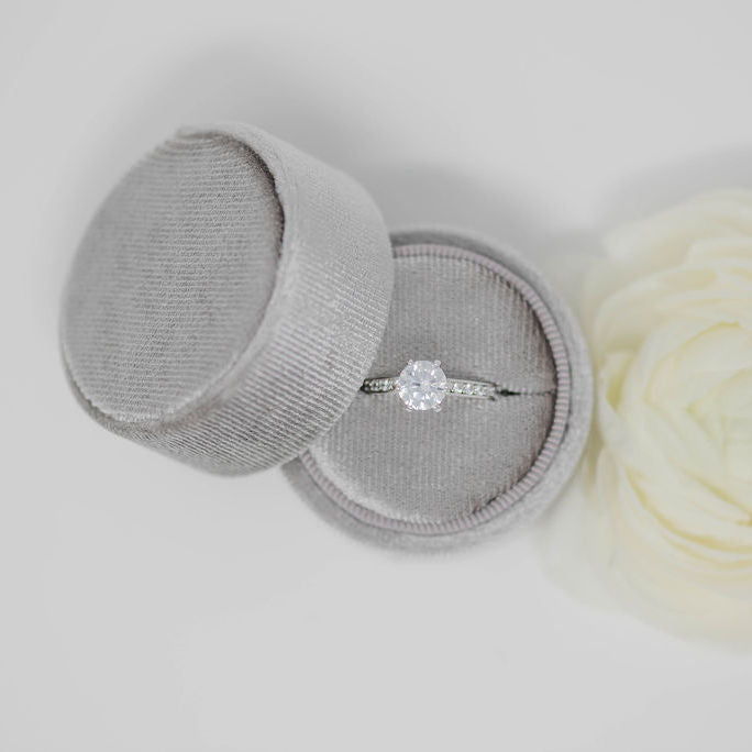Grey Round Velvet Ring Box
