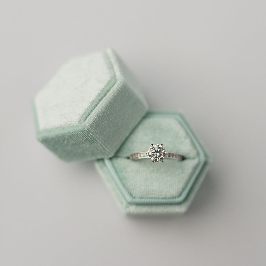 Mint Hexagon Velvet Ring Box
