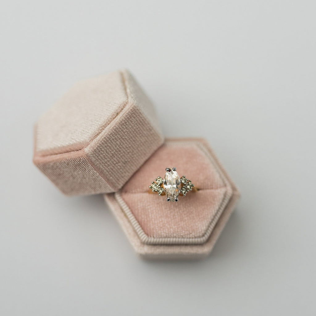 Peachy Cream Hexagon Velvet Ring Box