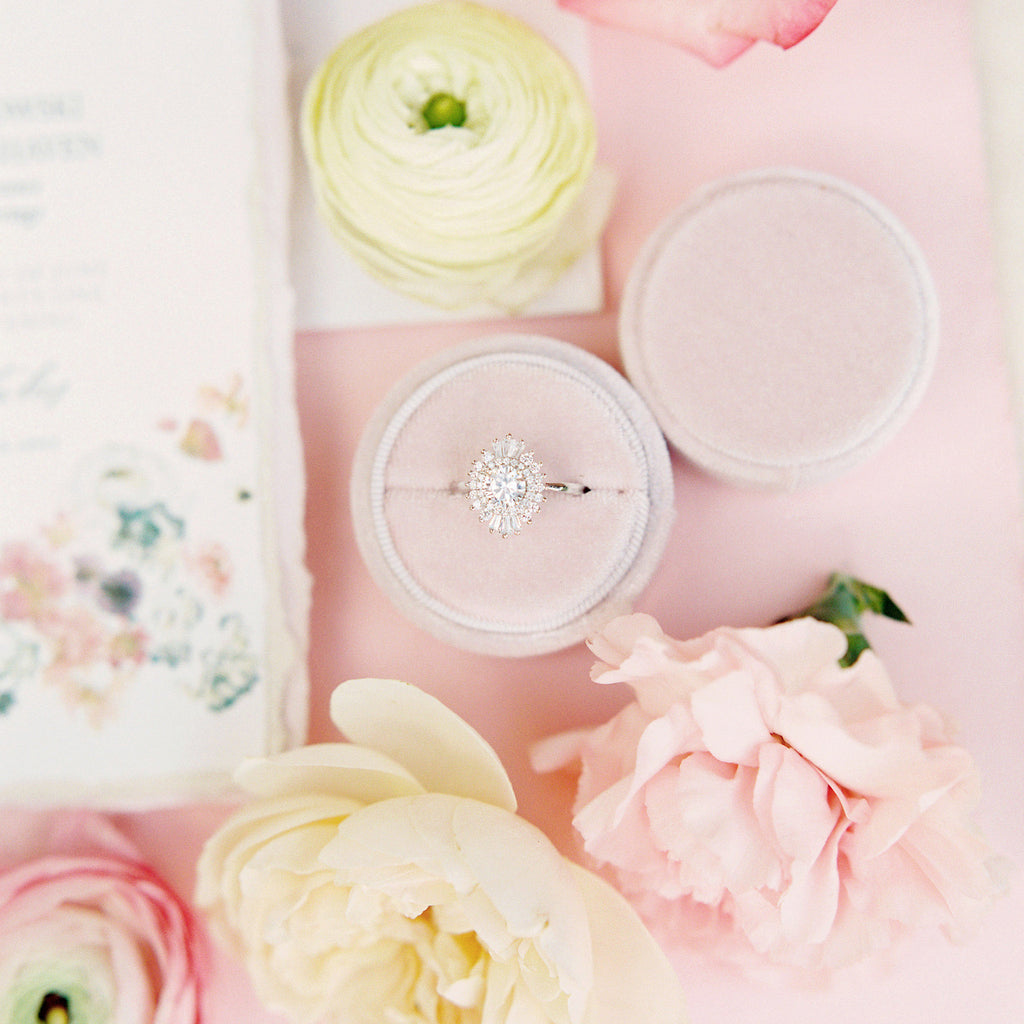 Peachy Cream Round Velvet Ring Box
