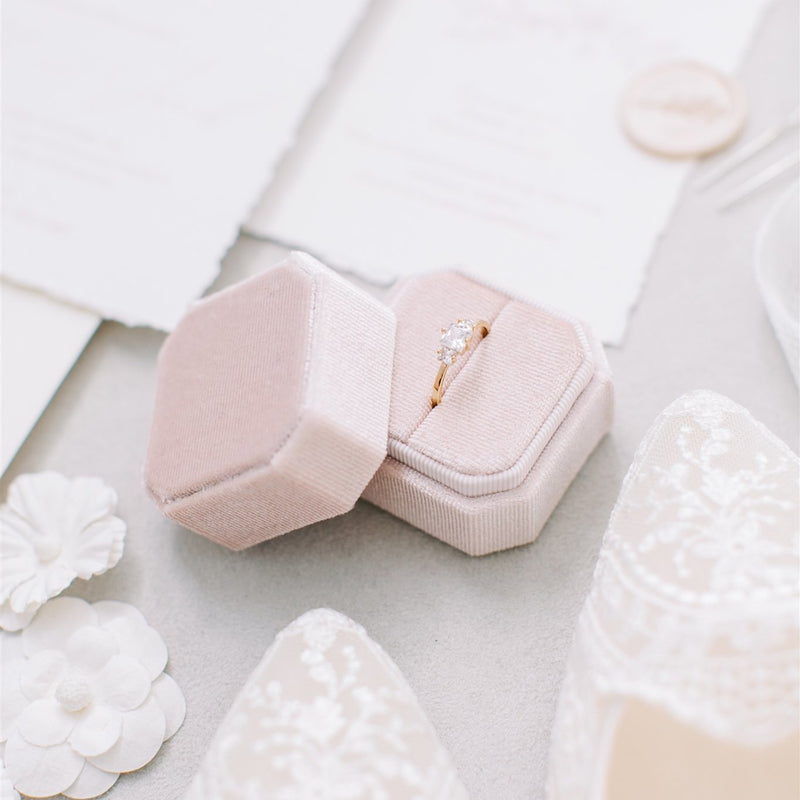 Peachy Cream Square Octagon Velvet Ring Box
