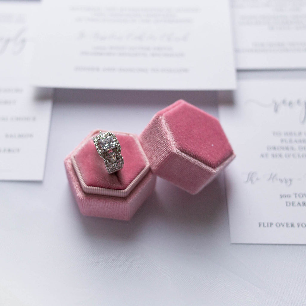 Pink Hexagon Velvet Ring Box
