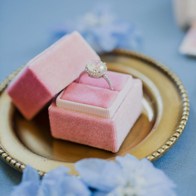 Pink Square Velvet Ring Box