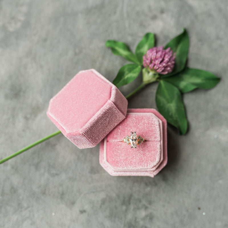 Pink Square Octagon Velvet Ring Box