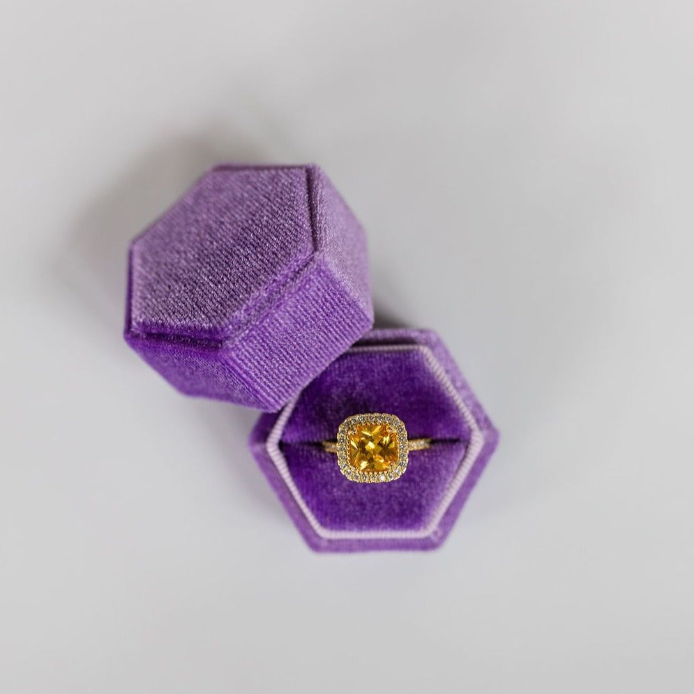 Purple Hexagon Velvet Ring Box