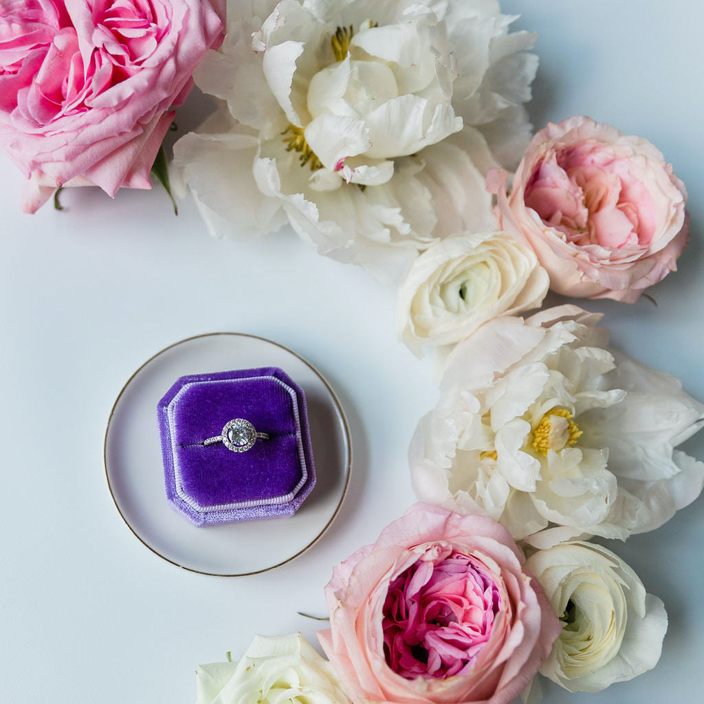 Purple Square Octagon Velvet Ring Box