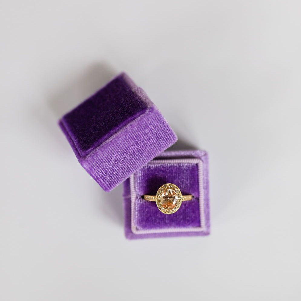 Purple Square Velvet Ring Box