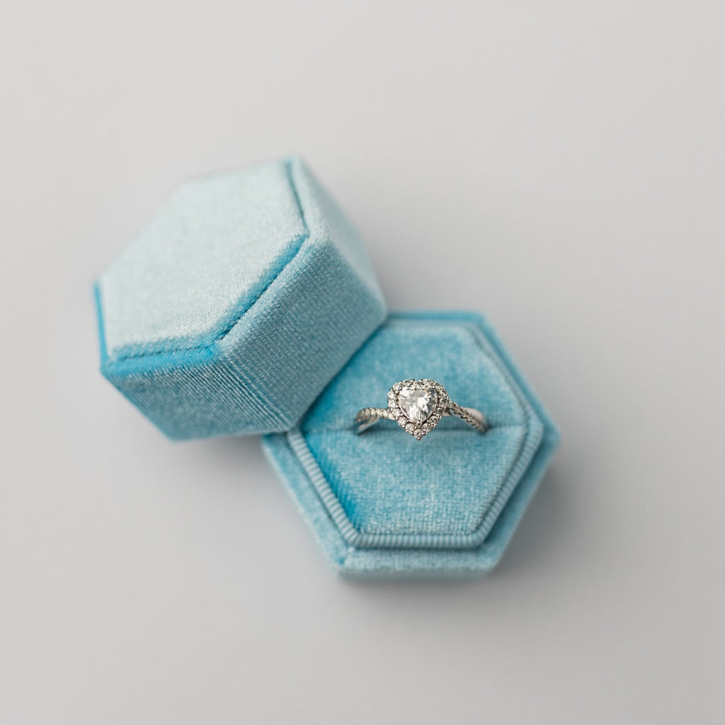 Sky Blue Hexagon Velvet Ring Box