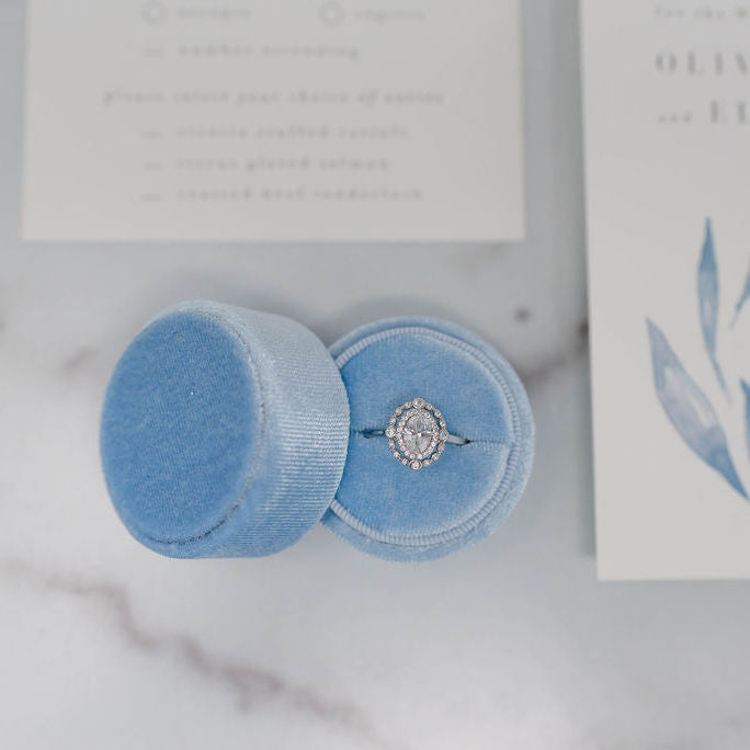Sky Blue Round Velvet Ring Box