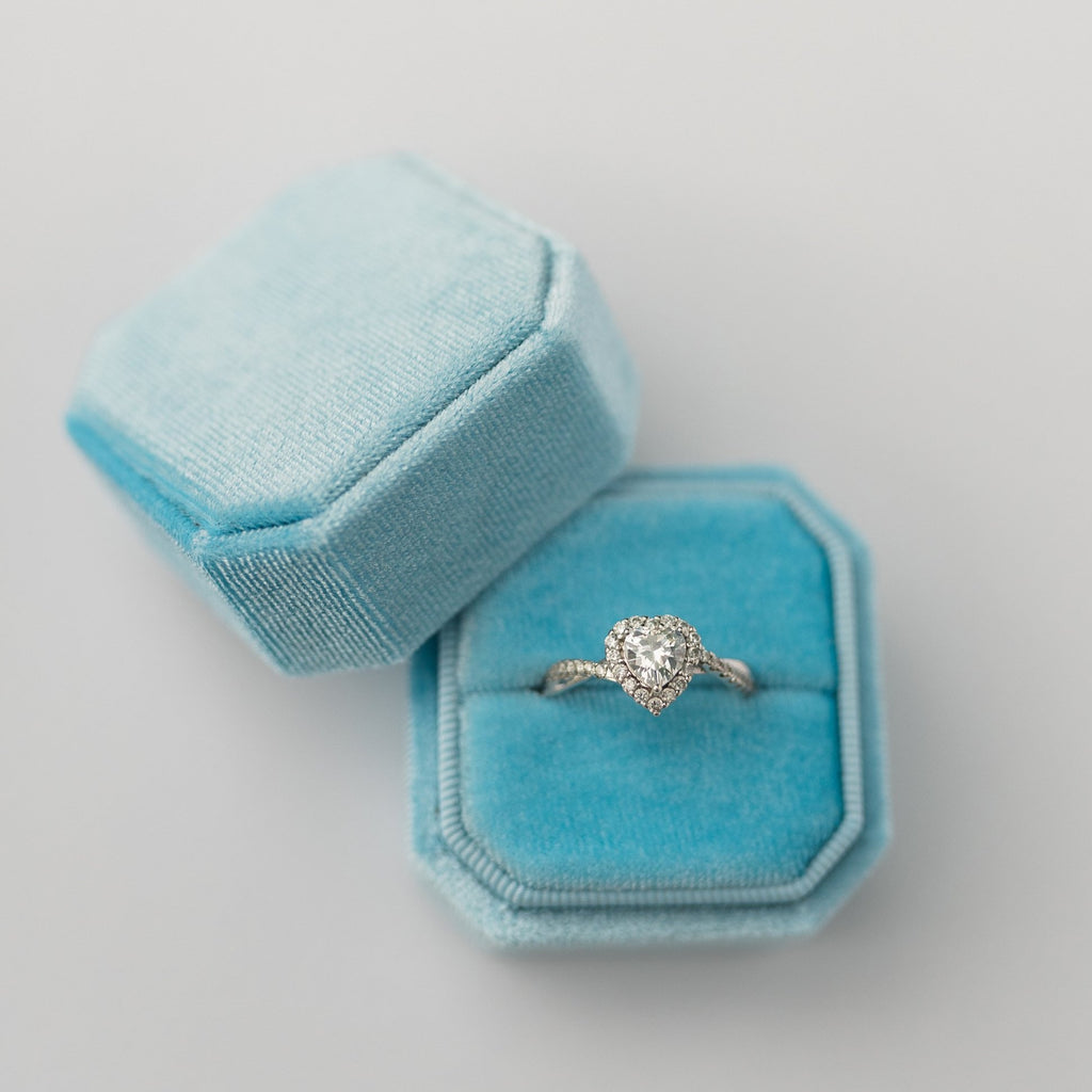 Sky Blue Square Octagon Velvet Ring Box