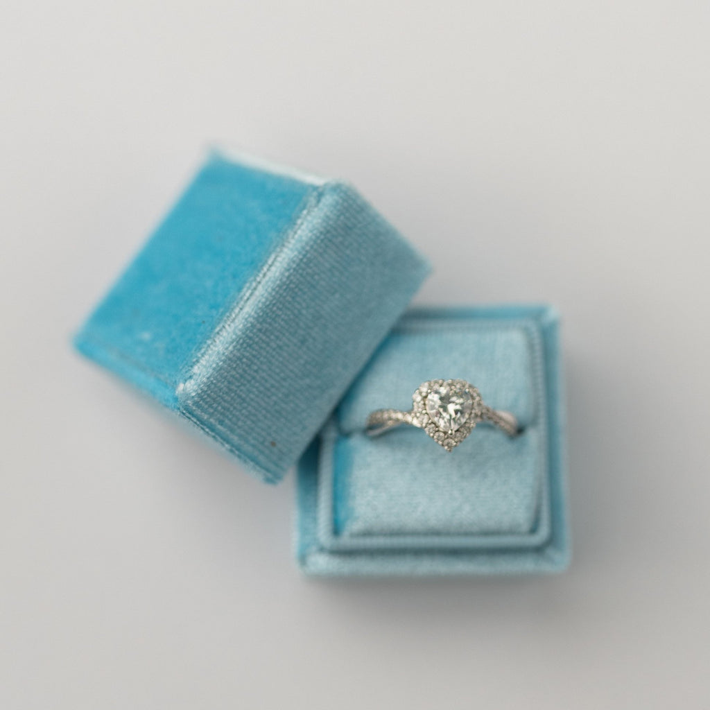 Sky Blue Square Velvet Ring Box