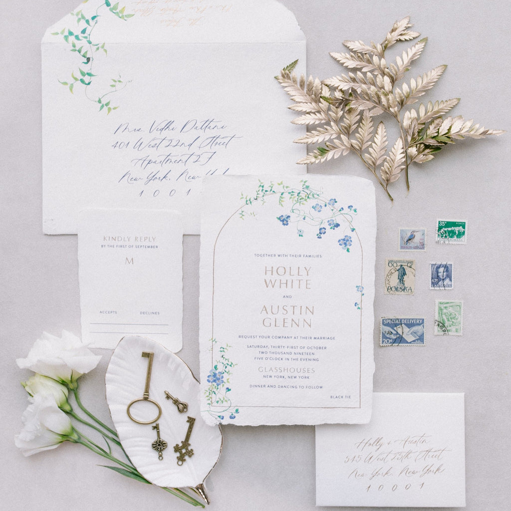 Styled Vintage Keys with Wedding Invitations