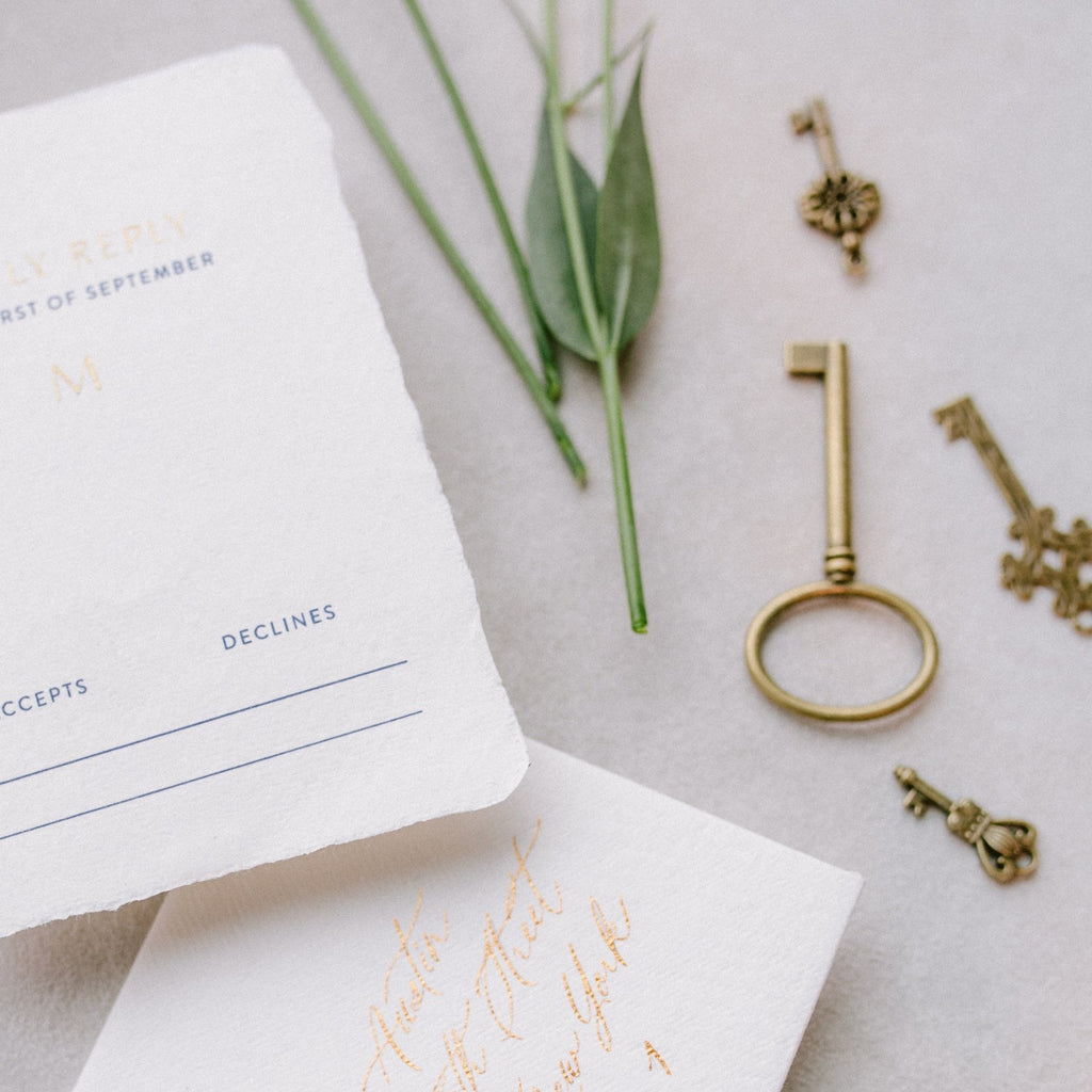 Vintage Bronze Keys and Wedding Invitations