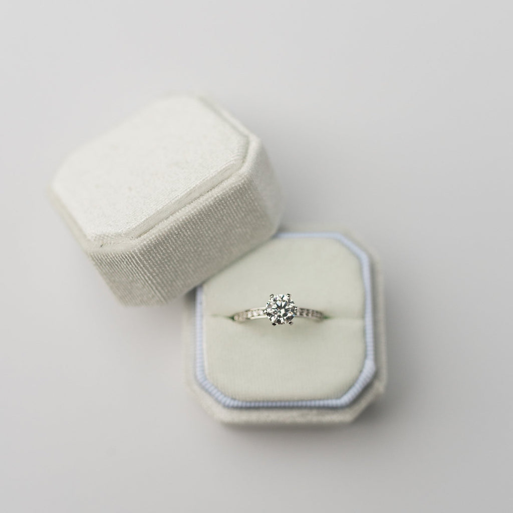 White Square Octagon Velvet Ring Box