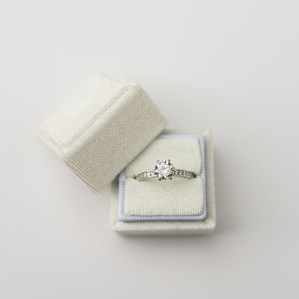 White Square Velvet Ring Box